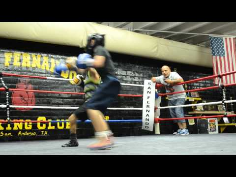 Ethan Perez and Christian Romero sparring at the San Fernando Gym