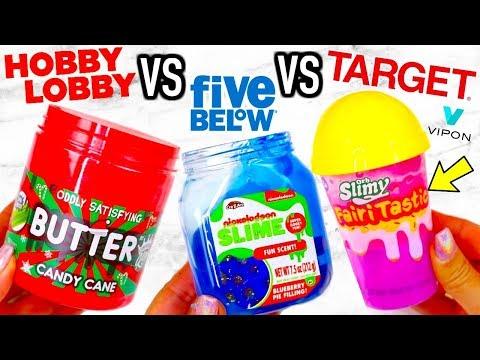 HOBBY LOBBY VS FIVE BELOW VS TARGET SLIME! Is It Worth It?!? + VIPON GIVEAWAY!