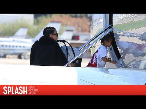 Kim Kardashian and Family Take Private Jet Out of Los Angeles   Splash News