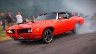 BRUTAL Muscle Car SOUNDS and BURNOUTS!! - Vantaa Cruising 6/2018