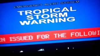 RARE!! Tropical Storm Warning caugth on TV! (EAS 234)