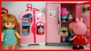 粉紅豬小妹在玩具冰箱中發現了好多奇趣蛋的過家家故事 北美玩具小豬佩琪