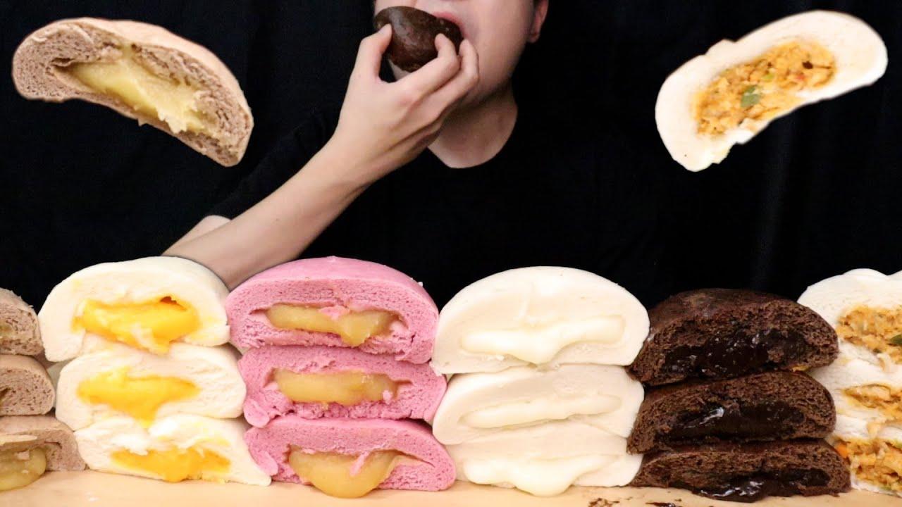ASMR MUKBANG HERSHEY'S CHOCOLATE EGG CREAM MILK BREAD DESSERT 삼립호빵 신메뉴 디저트 먹방