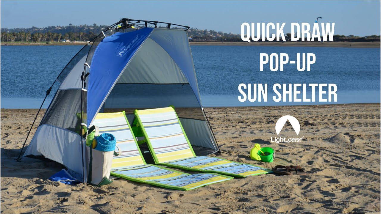 How to set up and take down the Lightspeed Outdoors Quick Draw Pop-Up  Shelter / Beach Tent