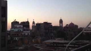 Azan al maghreb in Egypt with church bell