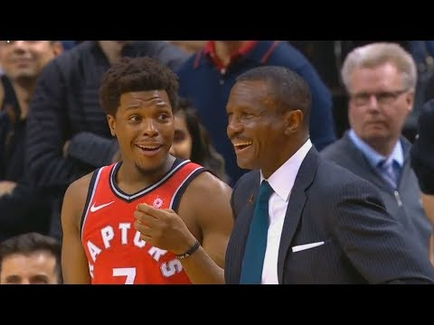 Kyle Lowry Laughs at His Coach Dwane Casey Getting Ejected After a Fan Yells at the Referee!