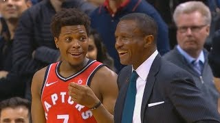 Kyle Lowry Laughs at His Coach Dwane Casey Getting Ejected After a Fan Yells at the Referee
