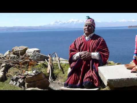 Getting the blessing of Kallawaya, Sun Island, Titicaca Lake, Bolivia