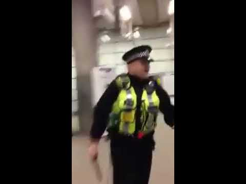 Police arrest a man in St Pancras International, London