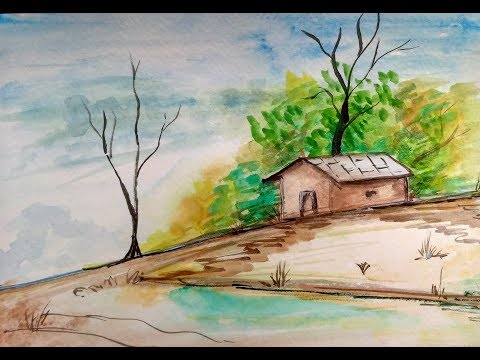 Village House Scenery – Watercolor Landscape Painting Tutorial