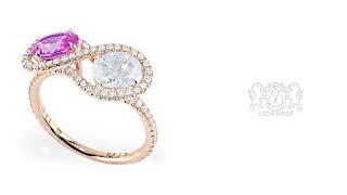 Custom made Toi et Moi ring by Leon Megé r6199