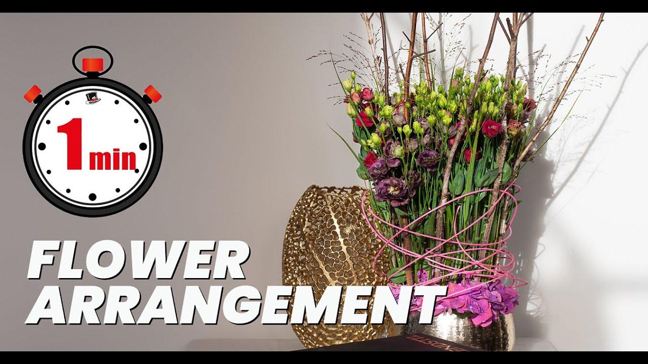 1 MINUTE TUTORIAL: How to make Lisianthus table arrangement | DIY bouquet lesson | floral decor