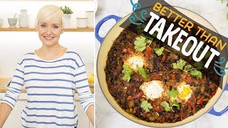 Spicy Black Bean Soup with Poached Eggs (with The Domestic Geek) | Food Network
