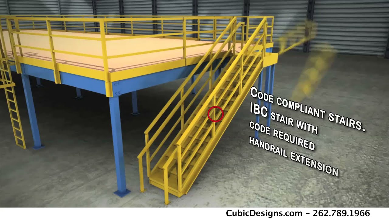Cubic steel mezzanine animated design options video from for Steel mezzanine design