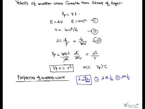 Velocity of Matter Wave greater than speed of light, Velocity of Matter Wave