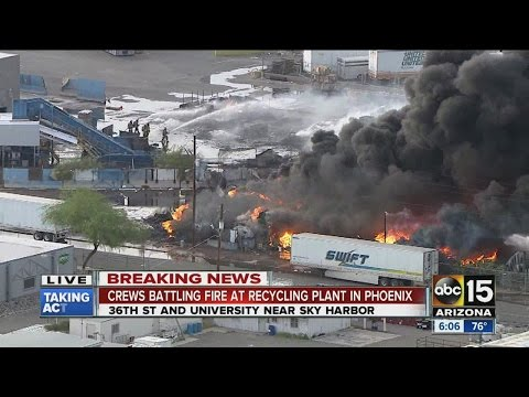 Recycling plant on fire in Phoenix