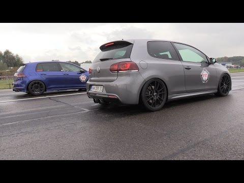 375hp Vw Golf 7r Vs 370hp Vw Golf 6r Drag Racing Youtube