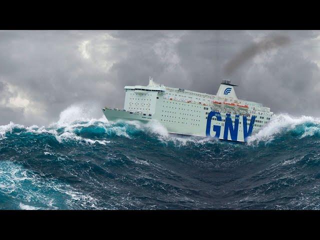 GNV Atlas affronta il mare in tempesta tra Tangeri e Sète