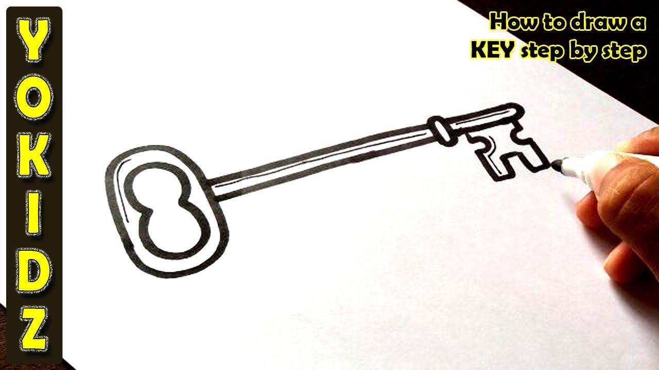 How To Draw A Key Step By Step Youtube