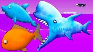МАЛЕНЬКАЯ РЫБКА Tasty Blue #17 Акула зубастик против золотой рыбки и дельфина в игре с Кидом