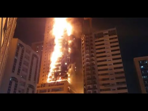 BIG FIRE IN DUBAI SKYSCRAPER: AL NAHDA SHARJAH, UAE (MAY 5,
