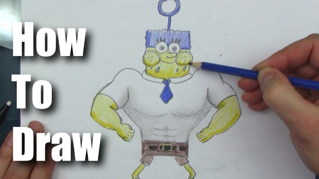 Strong Spongebob Drawing