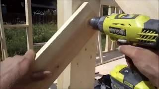 День 9. Выравнивание стен, монтаж ОСП. Строительство каркасного дома.