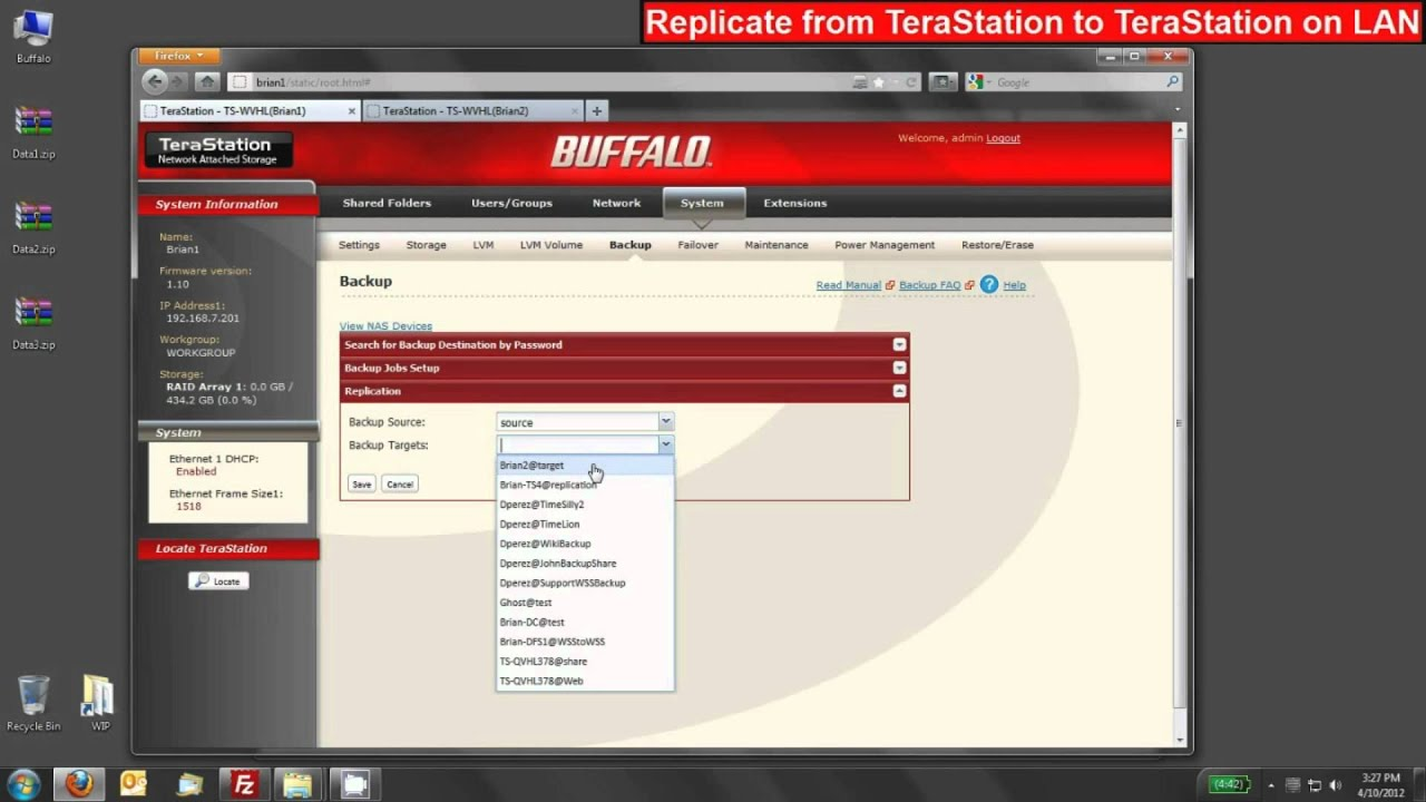 Replication between two Buffalo TeraStation NAS Devices over the LAN (Part  1)