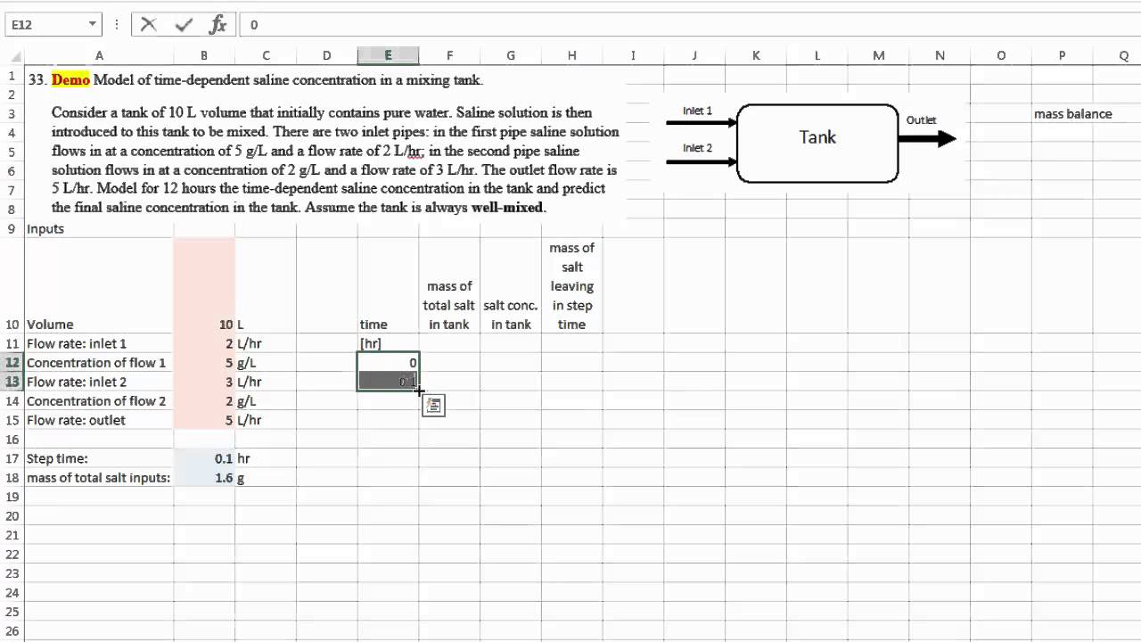 Excel 18 Problem 33 Time Dependent Modeling Of A Mass Balance