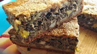 Мясной заливной пирог с печенью и яйцом без пшеничной муки , без глютена
