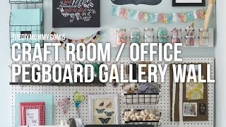 Craft Room Office Pegboard Gallery Wall // Easy DIY craft supply storage ideas!
