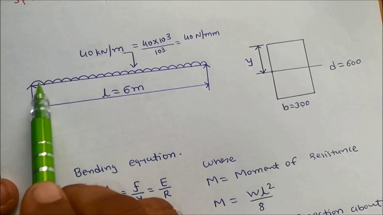 Bending stress in beams- problem 1-Mechanics of Solids