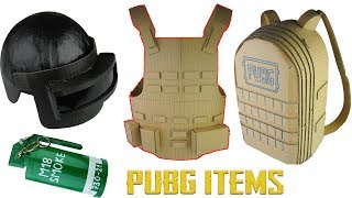 How to make PUBG ITEMS Compilation Level 3 Helmet, Smoke Bomb, Lvl 3 Military Vest, Lvl3 Backpack