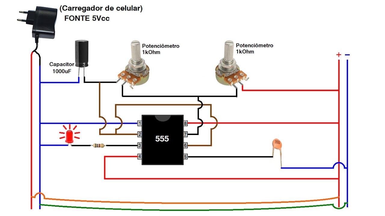 Circuito Integrado 555 : Como montar um circuito com integrado na