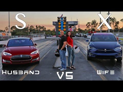 Tesla Model X Vs Model S P90D Ludicrous Husband Vs Wife Drag Racing 1/4 Mile Showdown