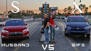Tesla Model X vs Model S P90D Ludicrous Husband vs Wife Drag Racing 1/4 Mile Showdown