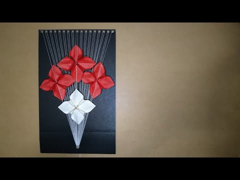 Origami Poinsettia Flower And String Art