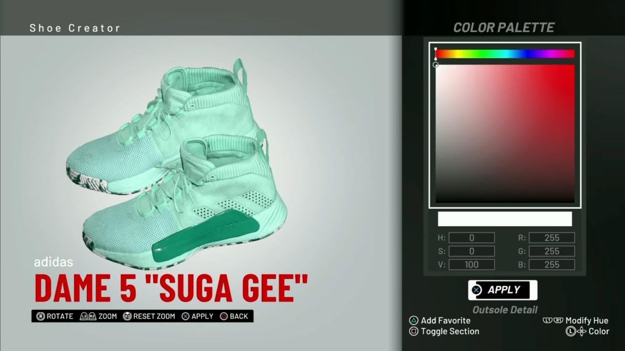 buy online b15f7 9735d NBA 2K19 Shoe Creator   Adidas Dame 5