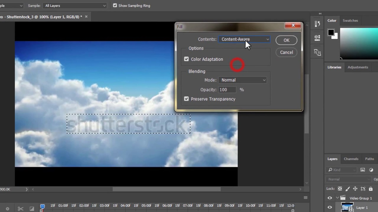 Remove video watermark using Photoshop cc 2017