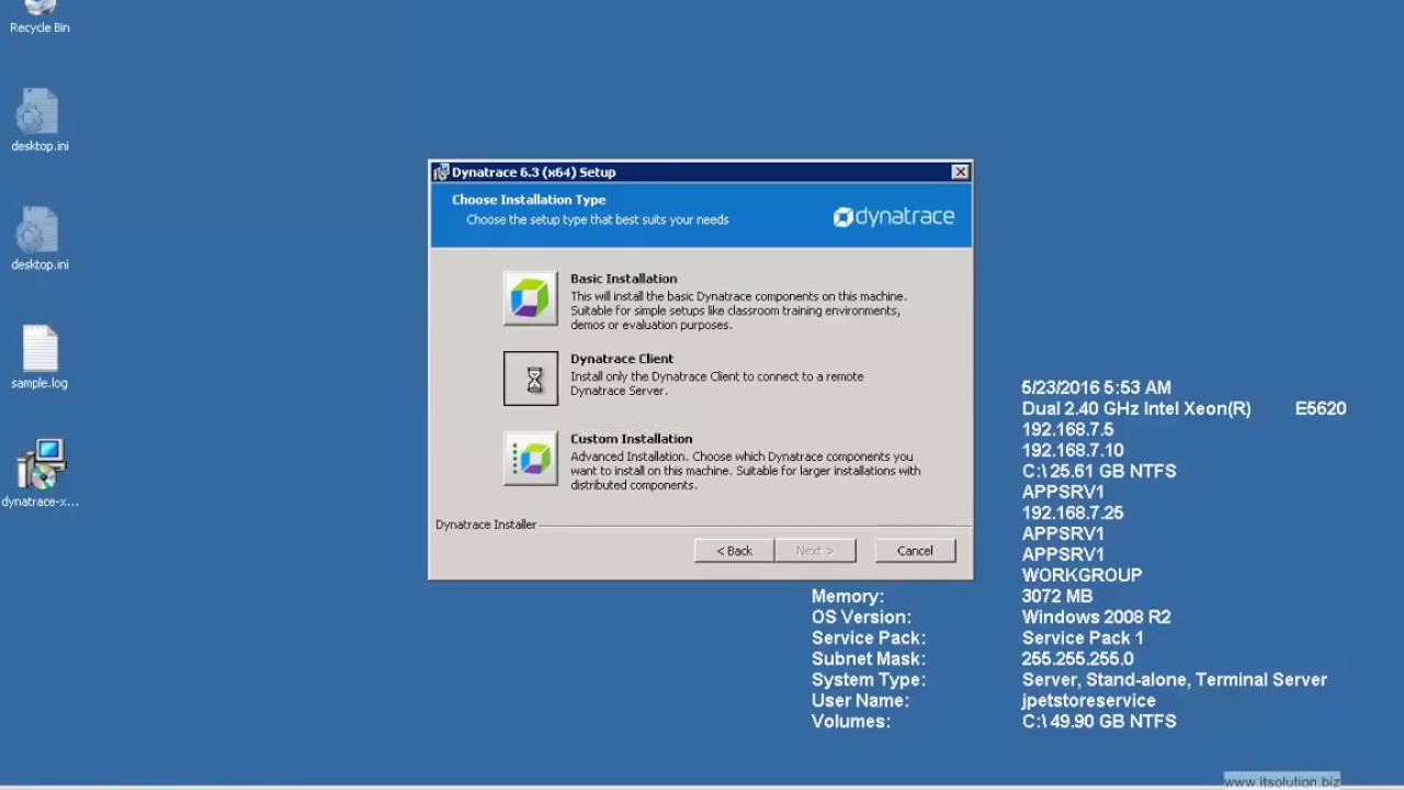 Install Dynatrace Client 6 3 on MS Windows 2008