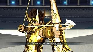 Saint Seiya Soldier's Soul: Sagittarius Seiya Gold Cloth Moveset Gameplay [PS4] (English)