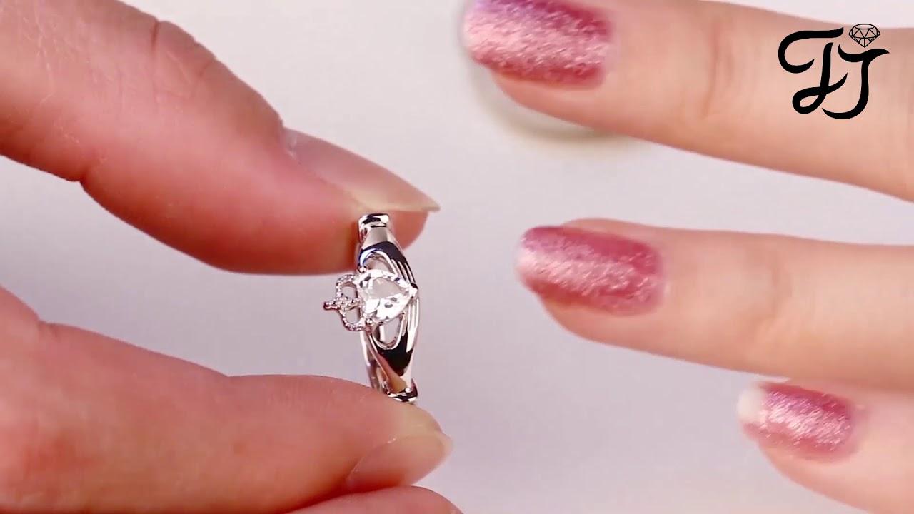Sterling Silver Heart Cut Topaz Claddagh Rings For Wedding - FarJary ...