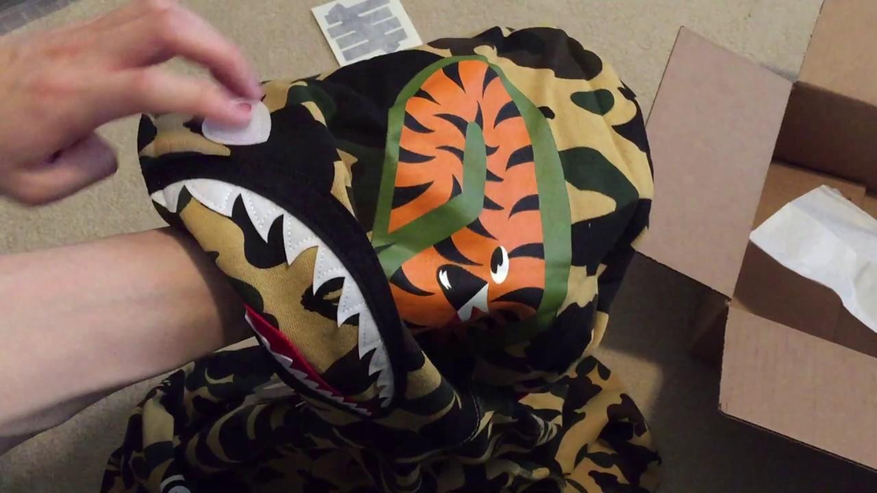 6a1c1462ed46 Bape 1st Camo Shark Full Zip Hoodie Yellow Pickup Unboxing - YouTube