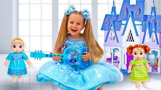 Download lagu Diana Plays with Disney Frozen Toy Guitar and other Frozen toys