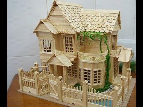 Cara Membuat Miniatur Rumah Panggung Sederhana Dari Stik Es Krim #MiniaturRumah #DariStikEsKrim..