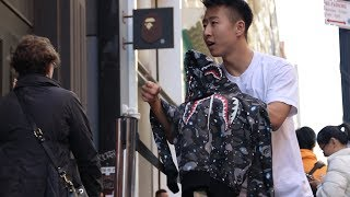 SELLING FAKE STREETWEAR in front of REAL STORES