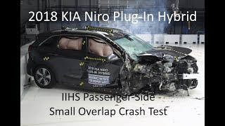 2018-2019 KIA Niro Plug-In Hybrid IIHS Passenger-Side Small Overlap Crash Test (Extra Angles)
