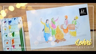 Easy Lohri Celebration Water Colour Painting | Lohri Special | Drawing Tutorial