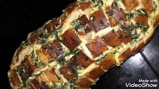 Запеченный батон с сыром, чесноком и укропом