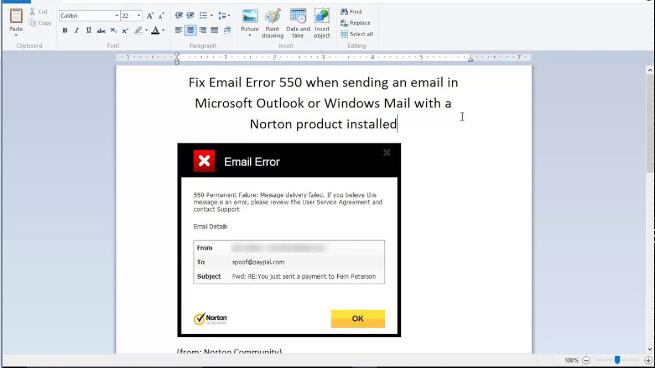 Fix Email Error 550 When Sending Using Outlook Mail W Norton Installed